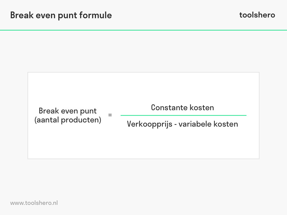 Break even analyse formule - ToolsHero