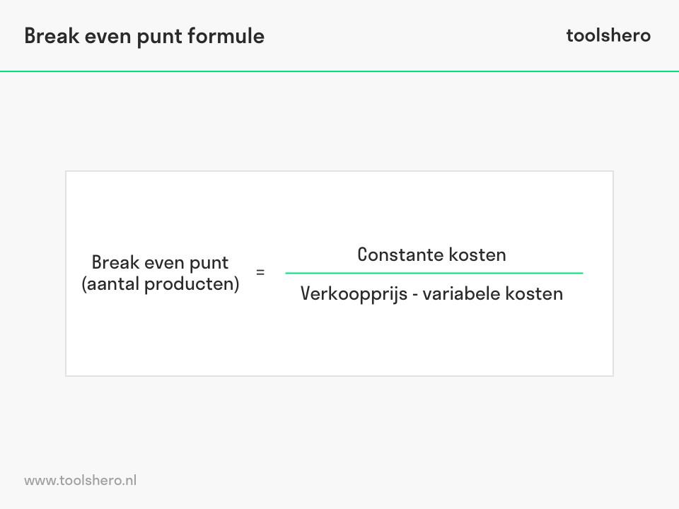 Break even analyse formule - ToolsHero