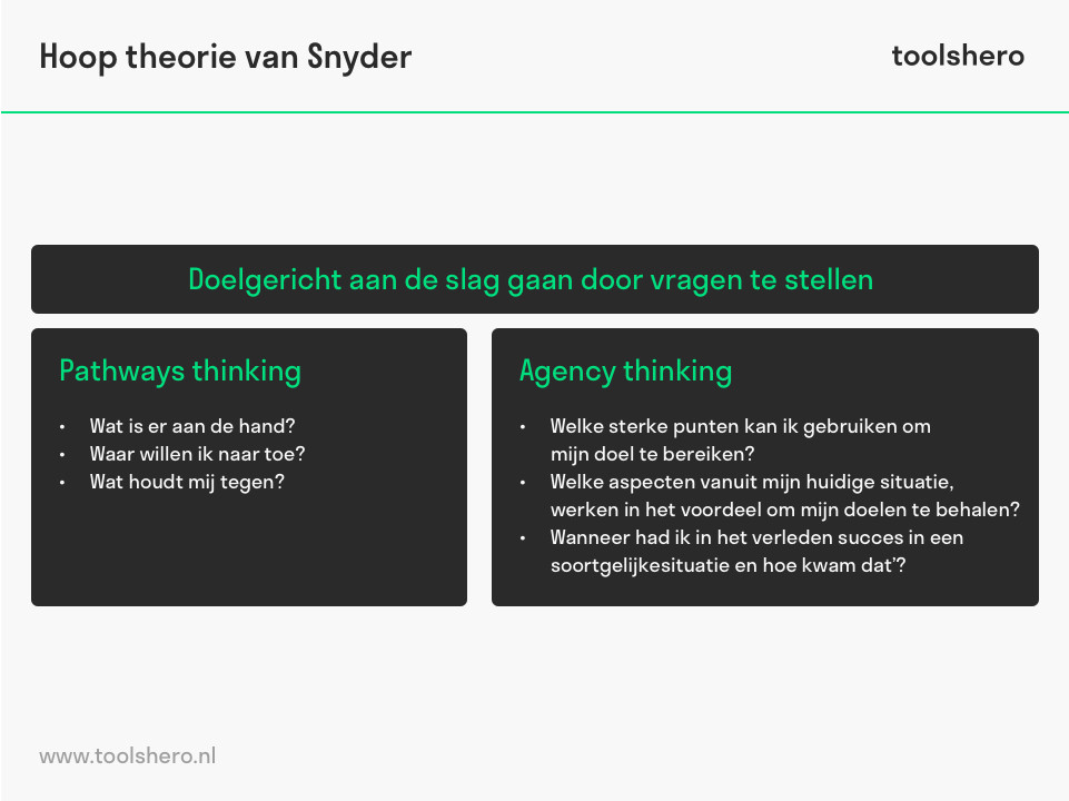 Hoop theorie van Snyder pathways en agency thinking - toolshero