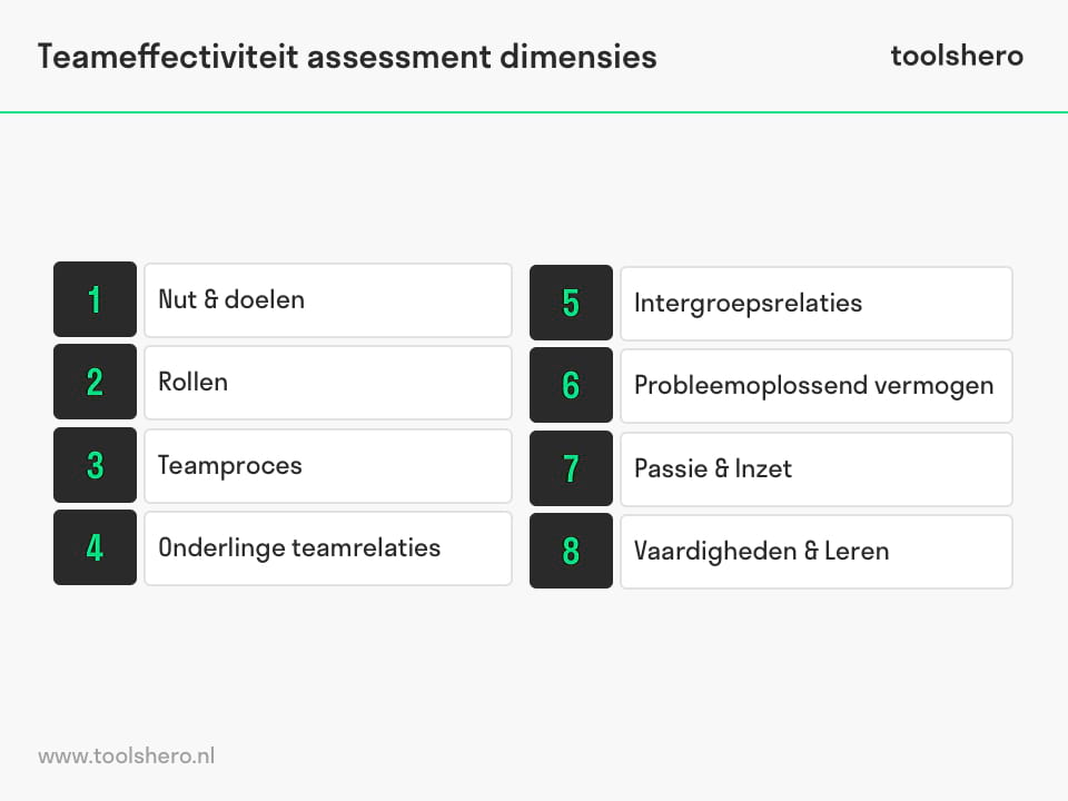 Teameffectiviteit assessment dimensies - toolshero